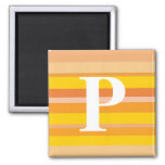 Monogram with a Colorful Striped Background - P Magnets