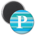 Monogram with a Colorful Striped Background - P 2 Inch Round Magnet