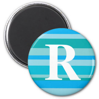 Monogram with a Colorful Striped Background - R 2 Inch Round Magnet