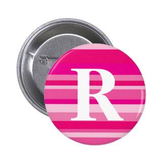 Monogram with a Colorful Striped Background - R Pinback Button