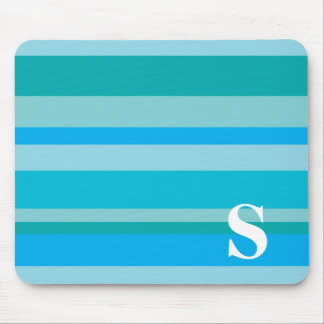 Monogram with a Colorful Striped Background - S Mouse Pad