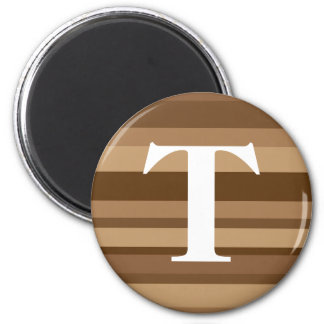 Monogram with a Colorful Striped Background - T 2 Inch Round Magnet