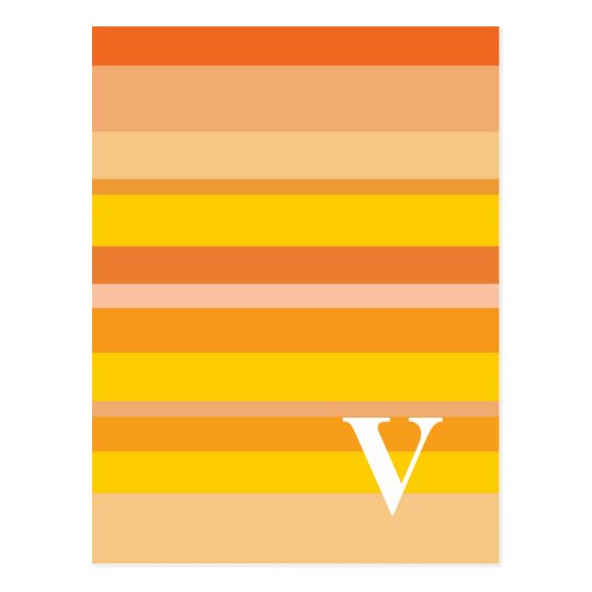 Monogram with a Colorful Striped Background - V Postcard