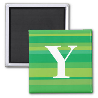 Monogram with a Colorful Striped Background - Y Fridge Magnets
