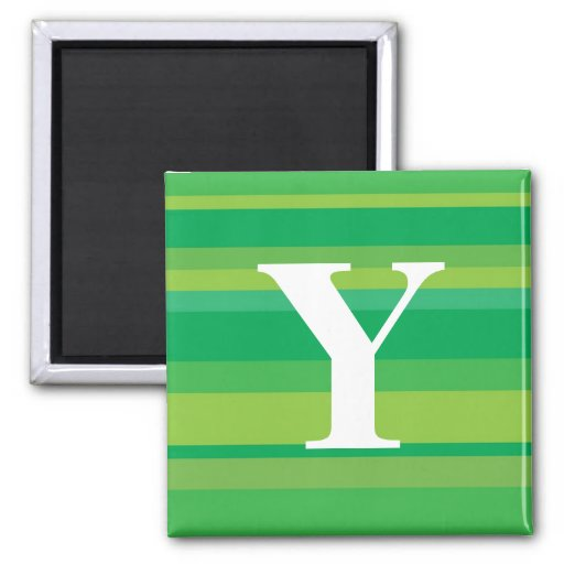 Monogram with a Colorful Striped Background - Y 2 Inch Square Magnet
