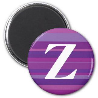 Monogram with a Colorful Striped Background - Z 2 Inch Round Magnet