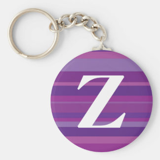 Monogram with a Colorful Striped Background - Z Basic Round Button Keychain