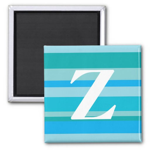 Monogram with a Colorful Striped Background - Z Magnet