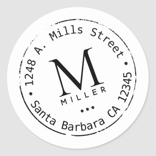 monogram with address classic round sticker