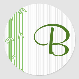 Monogram with Bamboo Background - Letter B Classic Round Sticker