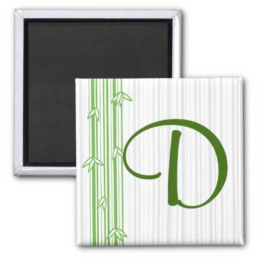 Monogram with Bamboo Background - Letter D 2 Inch Square Magnet