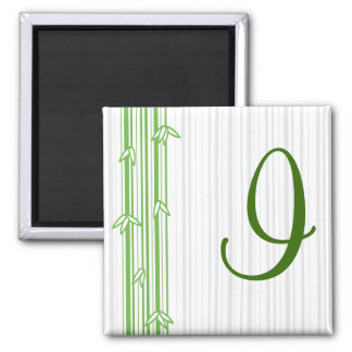 Monogram with Bamboo Background - Letter I 2 Inch Square Magnet