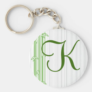 Monogram with Bamboo Background - Letter K Keychain
