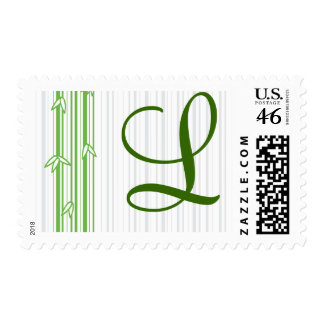 Monogram with Bamboo Background - Letter L Postage Stamps