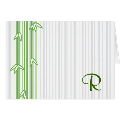 Monogram with Bamboo Background - Letter R Greeting Card