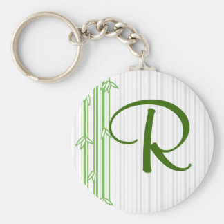 Monogram with Bamboo Background - Letter R Basic Round Button Keychain