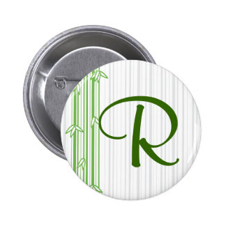 Monogram with Bamboo Background - Letter R Pinback Button
