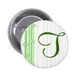 Monogram with Bamboo Background - Letter T Pinback Buttons