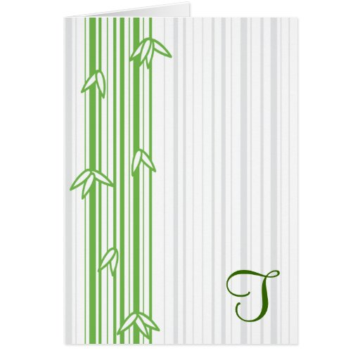 Monogram with Bamboo Background - Letter T Greeting Cards