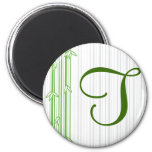 Monogram with Bamboo Background - Letter T Fridge Magnets