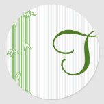 Monogram with Bamboo Background - Letter T Stickers