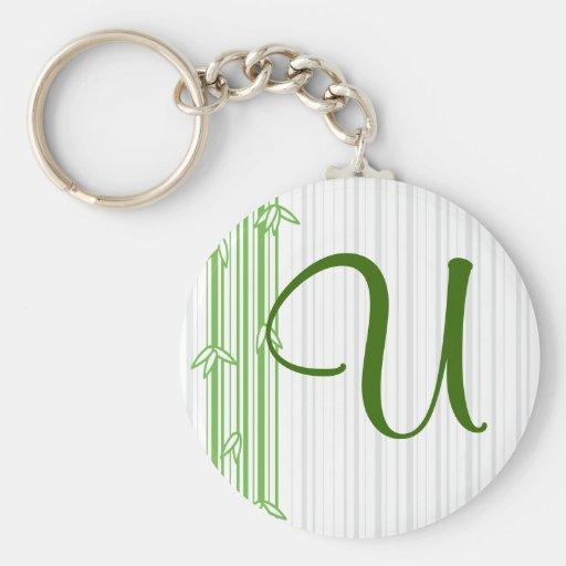 Monogram with Bamboo Background - Letter U Keychain