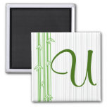 Monogram with Bamboo Background - Letter U Magnet