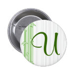 Monogram with Bamboo Background - Letter U Pin