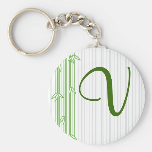 Monogram with Bamboo Background - Letter V Basic Round Button Keychain