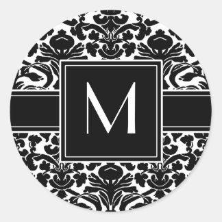 Monogram with Black and White Damask Classic Round Sticker