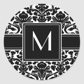 Monogram with Black and White Damask Sticker
