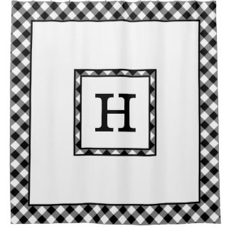 Monogram with Black White Buffalo Check Border Shower Curtain