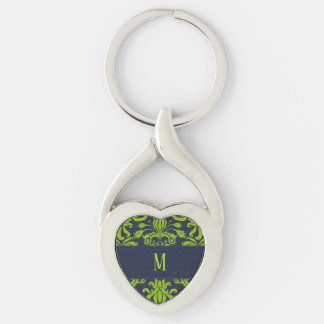 Monogram with Damask Pattern in Navy Blue and Jade Keychain