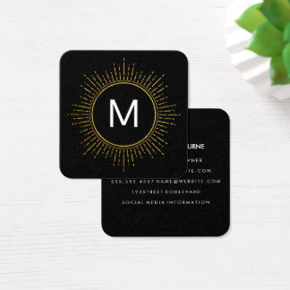 Monogram with Faux Gold Illuminated Elements Square Business Card