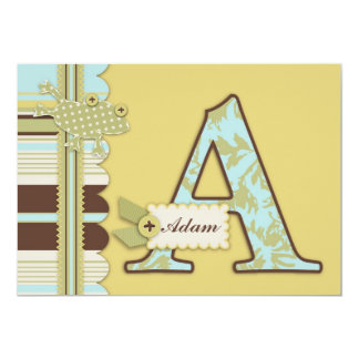 Monogram with Frog and Stripe Print Baby Shower 5x7 Paper Invitation Card