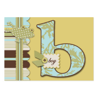 Monogram with Frog and Stripe Print Baby Shower Business Cards