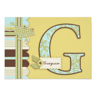 Monogram with Frog and Stripe Print Baby Shower Card