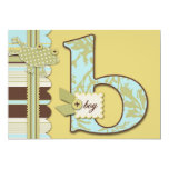 Monogram with Frog and Stripe Print Baby Shower Custom Announcements