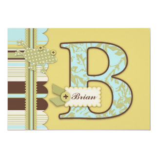 Monogram with Frog and Stripe Print Baby Shower Personalized Announcement