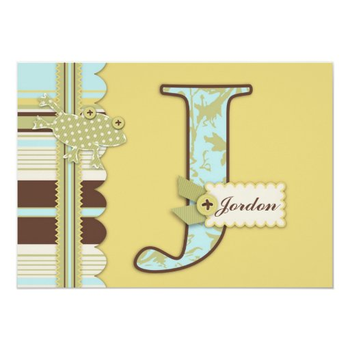Monogram with Frog and Stripe Print Baby Shower Personalized Invites