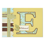 Monogram with Frog and Stripe Print Baby Shower Announcements