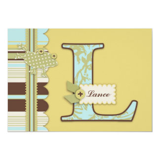Monogram with Frog and Stripe Print Baby Shower Custom Invites
