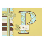 Monogram with Frog and Stripe Print Baby Shower Personalized Invitation