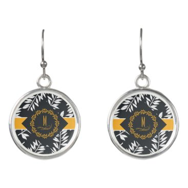 Beach Themed Monogram with Golden Yellow and Charcoal Gray Earrings