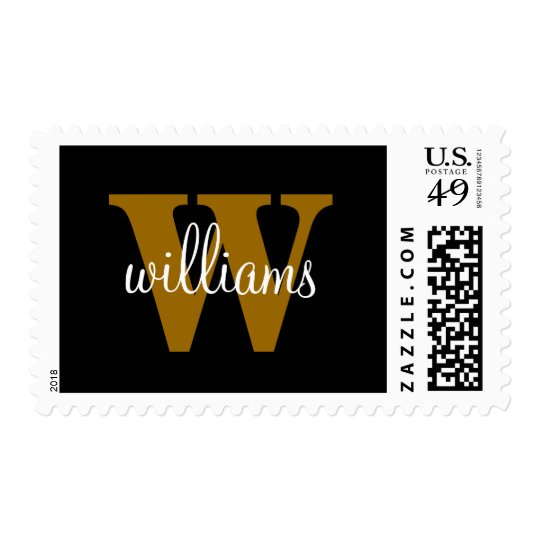 Monogram with Last Name Overlay Postage Stamp