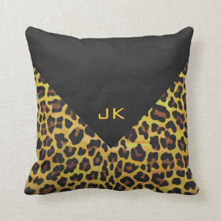 Monogram with Leopard Brown and Yellow Pillow