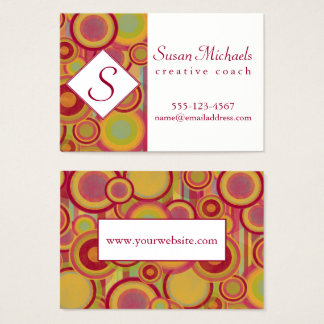 Monogram with Modern, Colorful Abstract Shapes Business Card