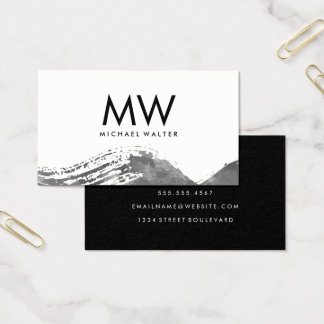Monogram with Modern Gray Watercolor Brushed Business Card