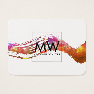Monogram with Modern Watercolor Brushed Business Card