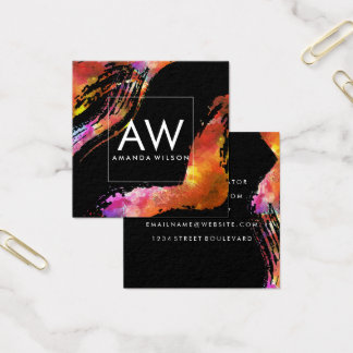 Monogram with Modern Watercolor Brushed Square Business Card
